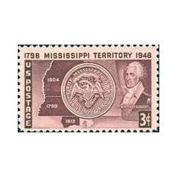 1 عدد تمبر صدو پنجاهمین سال تاسیس ایالت می سی سی پی - آمریکا 1948