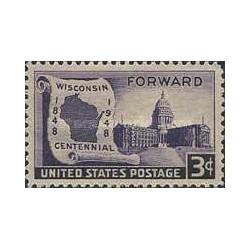 1 عدد تمبر صدمین سال تاسیس ایالت ویسکانسن - آمریکا 1948