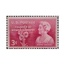 1 عدد تمبر بنیانگذار Memorial Poppy - موینا میخائیل - آمریکا 1948