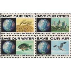 4 عدد تمبر ضد آلودگی - آمریکا 1970