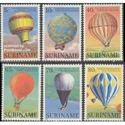 6 عدد تمبر دویستمین سال پرواز بشر - بالن ها - سورینام 1983