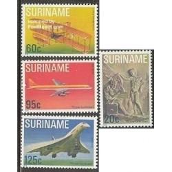 4 عدد تمبر 75مین سال پروازهای موتوری - هواپیما - سورینام 1978
