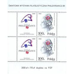 سونیرشیت دویستمین سالگرد انقلاب فرانسه و نمایشگاه تمبر فیلکس فرانس پاریس - لهستان 1989