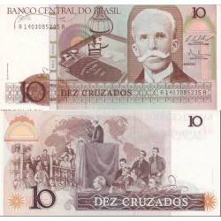 اسکناس 10 کروزادوس برزیل 1987 تک