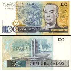 اسکناس 100 کروزادوس - برزیل 1987  - 95% حاشیه لکه های کمرنگ زرد دارد